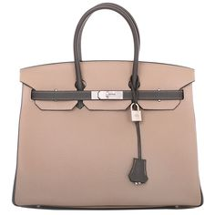 Hermes Bi-color SO Horseshoe Etain and Gris Tourterelle Togo Birkin 35cm Brushed Palladium Hardware