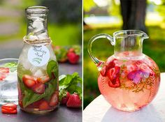 Love the Strawberry Watermelon Mint Infused Water♡♡ you should seriously try this it is so refreshing ☆ by DeeDeeBean Sparkling Strawberry Lemonade, Strawberry Wedding, Brunch Buffet, Food Tags, Infused Water, Kombucha, Detox Drinks, Yummy Drinks, Food Inspiration