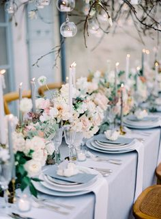 The artful world of Floral Designer Tabea Maria-Lisa with mat. Wedding Table Decorations, Wedding Table Settings, Flower Decorations, Wedding Centerpieces, Blue Wedding Receptions, Reception Table, Ethereal Wedding, Elegant Wedding, Luxury Wedding