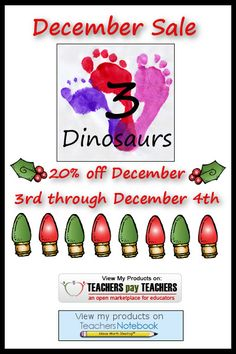 Cyber Monday Sale at my stores December 2nd through the 4th! | 3 Dinosaurs
