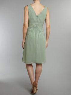 Ariella Chiffon Waist Detail Dress Green - House of Fraser