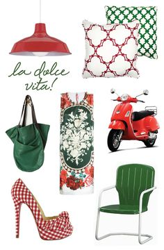la dolce vita red+green colorboard. think I'll do my spare bedroom in green and red. i'd thougth just red and white, but I think I need the dark green too. what other color scheme should an admitted Christmas addict have?