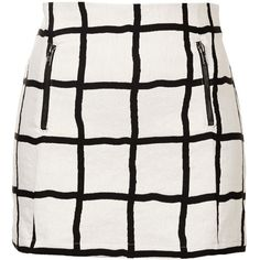 TOPSHOP Window Pane Pelmet Skirt ($50) ❤ liked on Polyvore featuring skirts, mini skirts, bottoms, faldas, saias, monochrome, topshop, topshop skirt, cotton skirt and white mini skirt