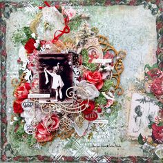 Blue Fern Studios: December inspirations by Tartine Peluche Winter Christmas, Christmas Themes, Vintage Christmas, Christmas Wreaths, Paper Lace, Fabric Paper, Free Digital Scrapbooking, Scrapbooking Layouts, Baby Scrapbook