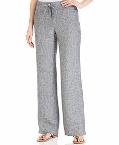 JM Collection Wide-Leg Linen Pants