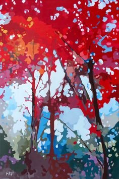 Red Canopy by Holly Ann Friesen Landscape Quilts, Landscape Art, Abstract Tree Painting, Abstract Art, Art Shed, Art For Art Sake, Tree Art, Pastel, Oeuvre D'art