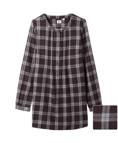 WOMEN FLANNEL PIN-TUCK LONG SLEEVE TUNIC