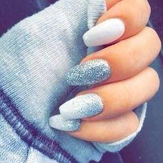 Pretty ice blue winter nail art ideas #nails