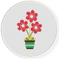 Charts Club Members Only: Flower Pot Cross Stitch Pattern
