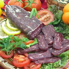 Lukanka- dried cured sausage of various kind. Usually eaten as an appetizer along with cheese and Rakia (Bulgarian moonshine liquor)