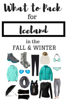 Visiting Iceland in the winter or fall? Use this guide for all things packing related! What to Pack for Iceland in Fall & Winter Fall Packing List, Packing Tips, Winter Travel Packing, Iceland In December, Iceland Travel Tips, Iceland Budget, Norway Travel, Ireland Travel, Iceland Adventures