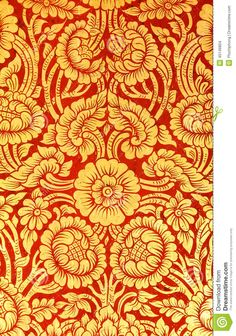 Flower pattern in traditional Thai style art painting on door of