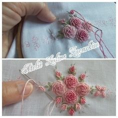 This Pin was discovered by 김은화 Embroidery Needles, Silk Ribbon Embroidery, Crewel Embroidery, Hand Embroidery Patterns, Cross Stitch Embroidery, Band Kunst, Brazilian Embroidery, Ribbon Art, Embroidery Techniques