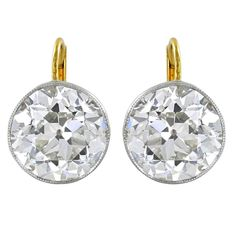 3.06 Carats Old European Cut Diamonds Gold Platinum Drop Earrings   From a unique collection of vintage drop earrings at https://www.1stdibs.com/jewelry/earrings/drop-earrings/