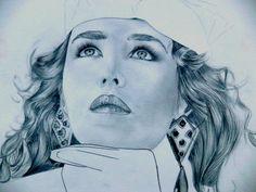 Corinne Morange - Crayon - Portrait de Isabelle Adjani