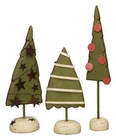 Look at this #zulilyfind! Wood & Tin Tree Figurine Set by Primitives by Kathy #zulilyfinds