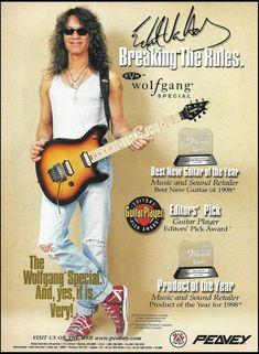 Eddie Van Halen 1998 Peavey EVH Wolfgang Special Guitar ad 8 x 11 advertisement Alex Van Halen, Eddie Van Halen, Wolfgang Van Halen, Van Halen 5150, Guitar Magazine, Music Pics, Music Photo, Best Guitarist, Greatest Rock Bands