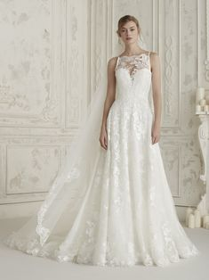 Eleana by Pronovias, high neck lace wedding dress bridal gown, lace back White Wedding Gowns, Wedding Dresses For Sale, Stunning Wedding Dresses, Wedding Dress Shopping, Beautiful Gowns, Bridal Dresses, Bridesmaid Dresses, Lace Wedding, Seductive Dress