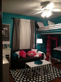 Teen room, tween room, bedroom idea, loft bed, black and white, teal, turquoise, hot pink, modern bedroom