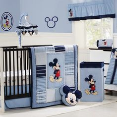 Mickey Mouse Crib Baby Nursery Bedding Decorating Ideas Blue Luxurious Mickey Mouse Baby Nursery Room Ideas Mickey And Minnie Mouse Bedroom Decor Ideas For Kids With Colorful Furniture - pictures, photos, images Cama Mickey Mouse, Mickey Mouse Nursery, Disney Themed Nursery, Mickey Mouse Baby Shower, Baby Boy Nursery Themes, Baby Room Art, Baby Bedroom, Baby Boy Rooms, Baby Room Decor