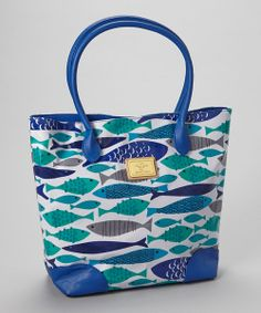 Love this Sam & Hadley Blue & Green Fish Tote by Sam & Hadley on #zulily! #zulilyfinds
