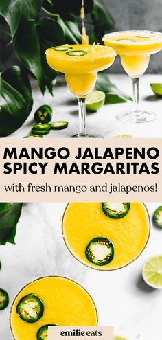 It's always 5 o' clock with these Mango Jalapeno Margaritas! They're the best spicy margarita recipe blended with fresh mangos and jalapeno. Blended Margarita Recipe, Spicy Margarita Recipe, Mango Margarita, Margarita Recipes, Fruit Recipes, Vegan Recipes Easy, Plant Based Recipes, Drink Recipes, Vegan Party Food