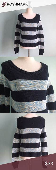 AEO Navy Striped Sweater Navy scoop-neck Knit sweater with light blue stripes. Super comfortable and warm. In excellent condition. Size medium by American Eagle Outfitters. American Eagle Outfitters Sweaters Crew & Scoop Necks