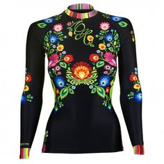 Longsleeve rashguard women FOLK. Color: black with colorful flowers. Excellent quality rashguard HOBBY EXTREME is ideal for hard training people who appreciate the highest class of products. Made of high quality material, which, thanks to its flexibility, clings to the body. Sophisticated thermoregulation system by which the body is dry and the muscles warmed up. Sublimated logos (will not scratch).