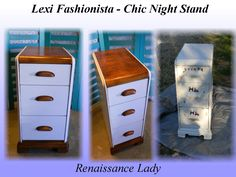 SOLD - Vintage Waterfall Night Stand - General Finishes Snow White and Nutmeg Gel Stain  www.facebook.com/Renaissance2Lady
