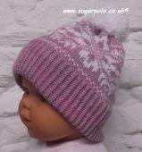 snowflake baby hat, machine knit