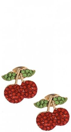 You'll find picture perfect simplicity in the Retro Rhinestone Cherry Earrings.