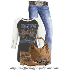"""Baseball Tee, Studded Boots & Vintage Cross Belt"" by steffiestaffie on Polyvore"