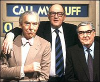 Call My Bluff - Frank Muir, Arthur Marshall, Robert Robinson. Loved this show so funny and clever