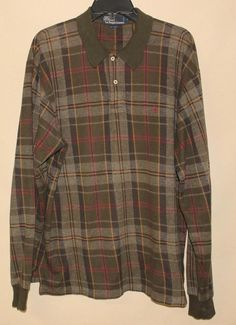 POLO RALPH LAUREN PLAID LONG SLEEVE PULLOVER SHIRT - LARGE #PoloRalphLauren #Pullover