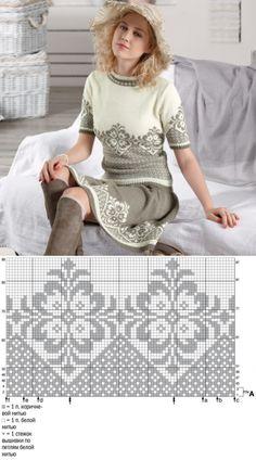 Костюм жаккардовым узором. Пуловер и юбка (Вязание спицами) | Журнал Вдохновение Рукодельницы