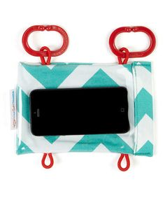 Talk about on-the-go entertainment! This cute case creates a personal theater and activity center for traveling tots. Simply download those favorite flicks or games onto a smartphone, then hang it from a shopping cart, stroller, playpen and more for instant visual stimulation. Designed by moms for moms, the pretty print keeps the case cute while protecting technology from slips, drops and eager little fingers.