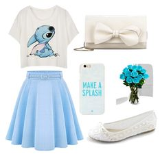 """baby blue and white"" by lindseysmart ❤ liked on Polyvore featuring WithChic, Kate Spade, RED Valentino, women's clothing, women's fashion, women, female, woman, misses and juniors"