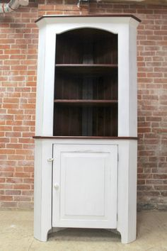 farmhouse Open Top Corner Cabinet. Snow White Exterior made from reclaimed barn wood