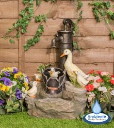 Ambienté Duck Family at Old Tap Water Feature with LED Lights by - Garden tools & Equipment Backyard Water Feature, Garden Equipment, Water Features In The Garden, Water Tap, Garden Fountains, Water Garden, Garden Tools, Lights, Ponds