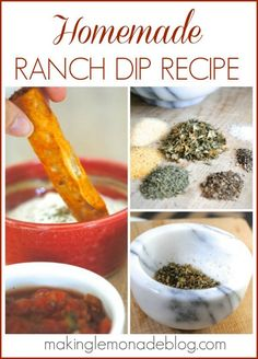 Never buy Ranch Dip Packets AGAIN! Delicious Homemade Ranch Dip Recipe- make it in under 5 minutes, so fresh and easy. Can also use spice mix to make fresh Ranch Dressing! www.makinglemonadeblog.com