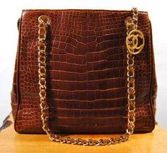 Chanel 80s French crocodile handbag