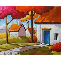 I love this! PAINTING ORIGINAL Folk Art Blue Door Cottage by SoloWorkStudio, $225.00