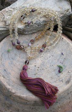 Beautiful citrine gemstone mala necklace - look4treasures on Etsy