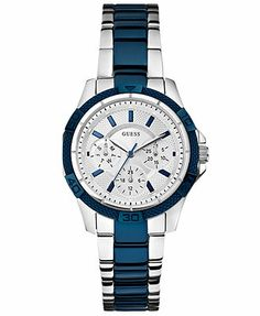 GUESS Women's Blue and Silver-Tone Stainless Steel Bracelet Watch 36mm U0235L6