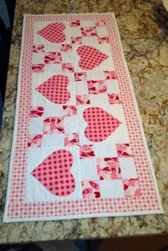 hand made quilted table runner/Topper Valentine Teacher/hostess Gift