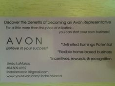 Interested in Avon Leadership? Use a Recruiting Business Card instead of a regular business card. It's easier to leave a business card everywhere you go than try to find a place to hang a flyer.