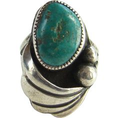 Vintage Navajo Morenci Turquoise Sterling Silver Ring Size 5.5 Native American