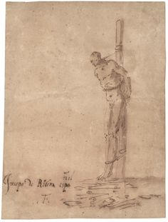 """José de Ribera, """"Man Bound to a Stake"""", ca. 1640–1645. Pen And Brown Ink And Brown Wash On Tan Laid Paper Mounted To Heavier Sheet, 215 x 163 mm. De Young, Legion of Honour © 2014–2016 Fine Arts Museums of San Francisco"""