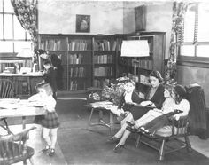 """The 'Mother's Room' at the Public Library of Youngstown and Mahoning County, ca. 1935 [from Ohio Memory]."" ...an interesting effort by an Ohio library to support the critical work of mothers in the community....one of the first in the nation to have a room devoted to helping women with issues of child-rearing, housekeeping, and other daily life concerns. After a visit to the library in Oct. 1939, First Lady Eleanor Roosevelt herself praised the library's work in creating the mother's…"