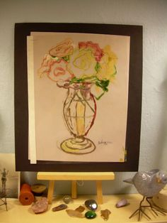 LISTED C PETERSON oil painting Original ART =vase of roses = monotype plate ooak #Impressionismexpressionismcontemporaryart